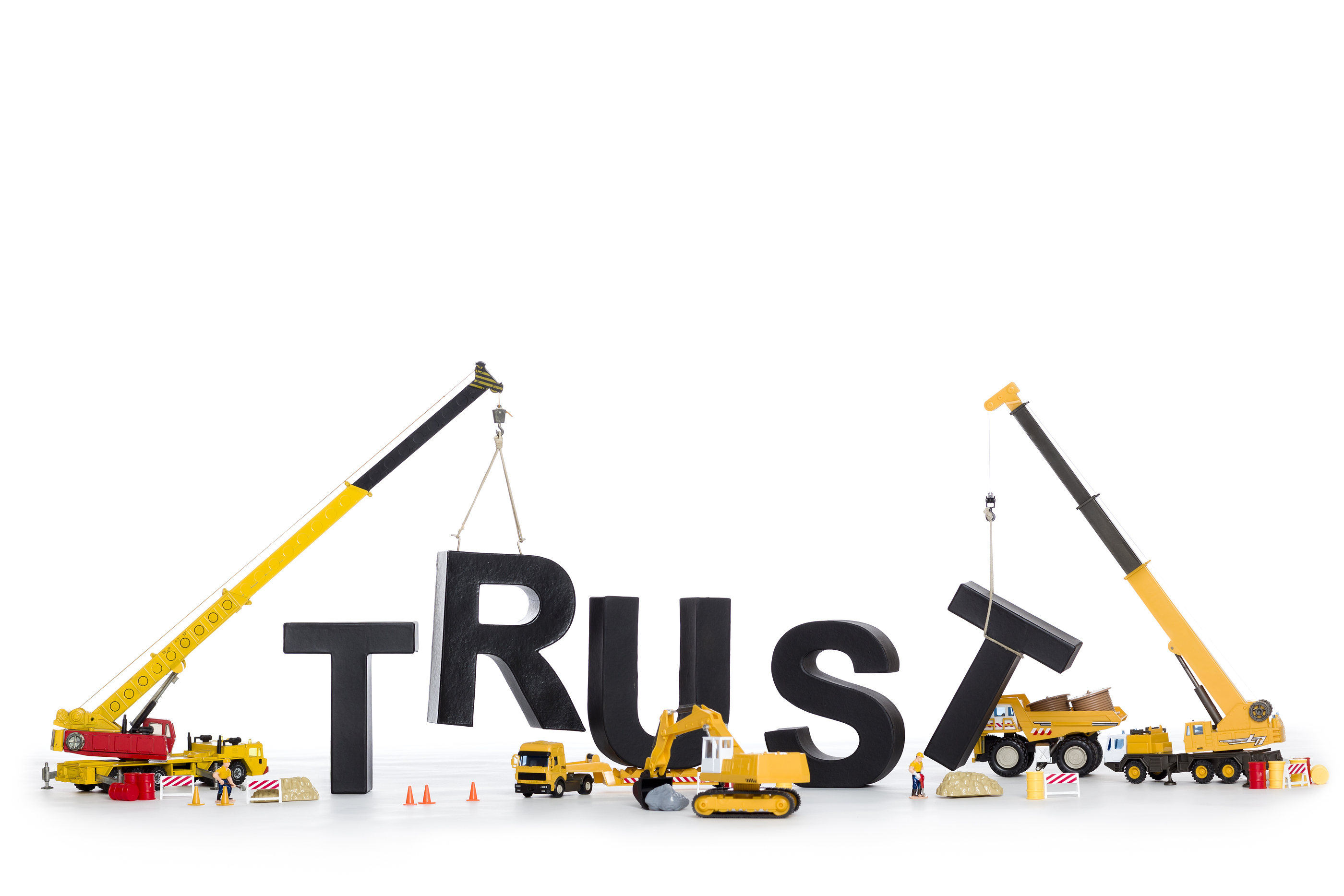 Building up trust concept: Black alphabetic letters forming the